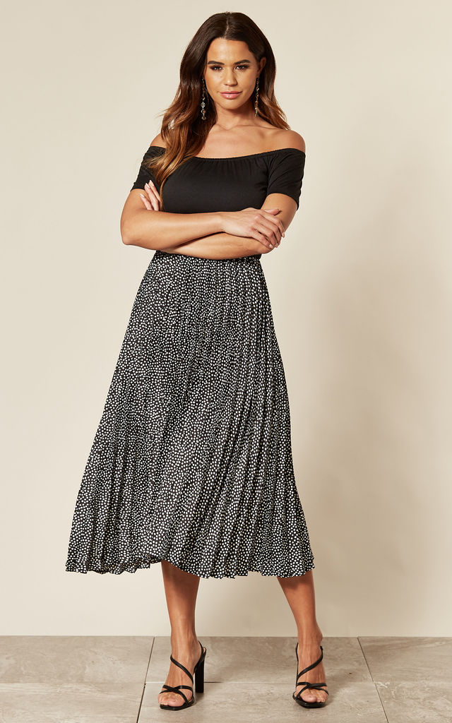 Polka Dot Bardot 2 in 1 midi dress by AX Paris