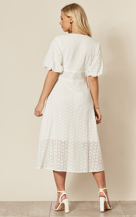 Exclusive Midi Broderie Shirt Dress with Balloon Short Sleeve in White by Liquorish