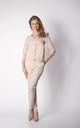 3/4 Sleeve Jumpsuit with V-Neck in Beige by By Ooh La La