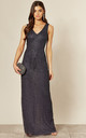 Embellished Sequin Backless Maxi Dress in Navy by ANGELEYE