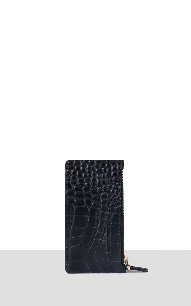 St Germain Cardholder in Black Croc by Azurina