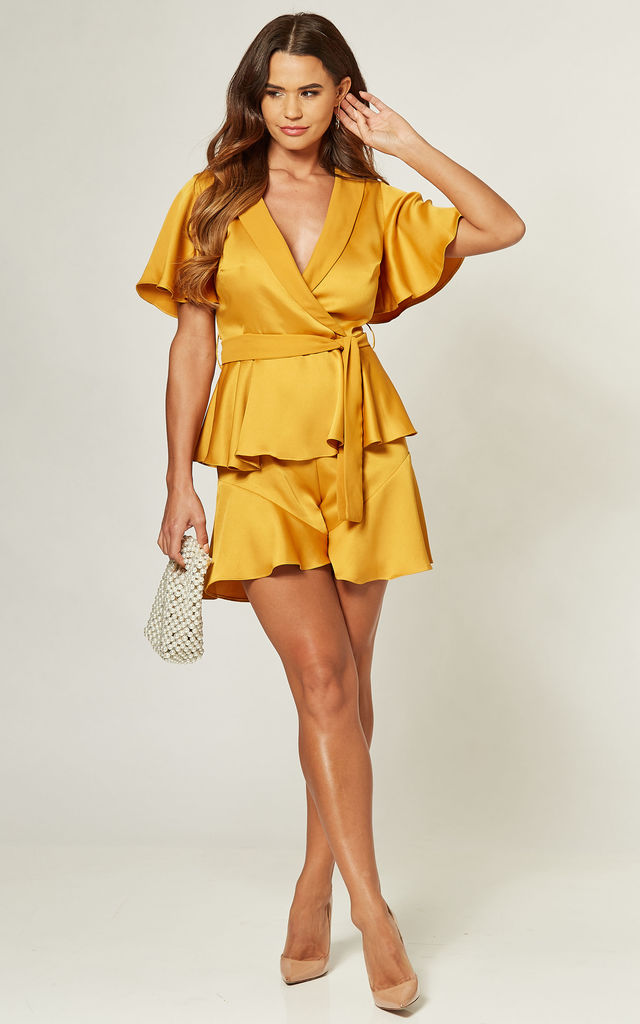 Wrap Front Playsuit With Tie Detail in Mustard by LIENA