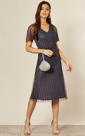 Short Sleeve Embellished Midi Dress in Gunmetal Grey by ANGELEYE