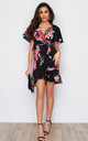 Laura Tie Waist V Neck Mini Dress Black Floral by Girl In Mind
