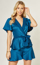 Wrap Front Playsuit With Tie Detail in Teal by LIENA