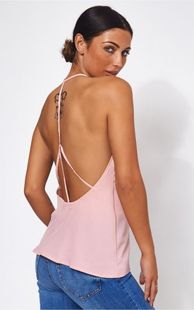 LUNA PINK CAGED BACK CAMISOLE TOP by The Fashion Bible