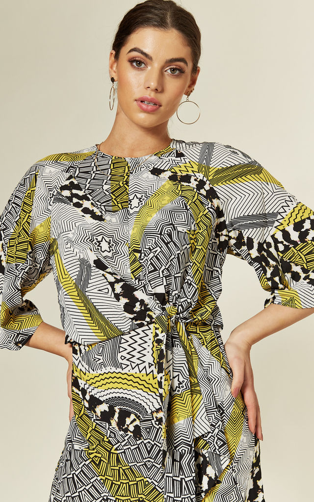 Tie Front Mini Dress in Grey/Yellow Animal Chevron Print by FUSE