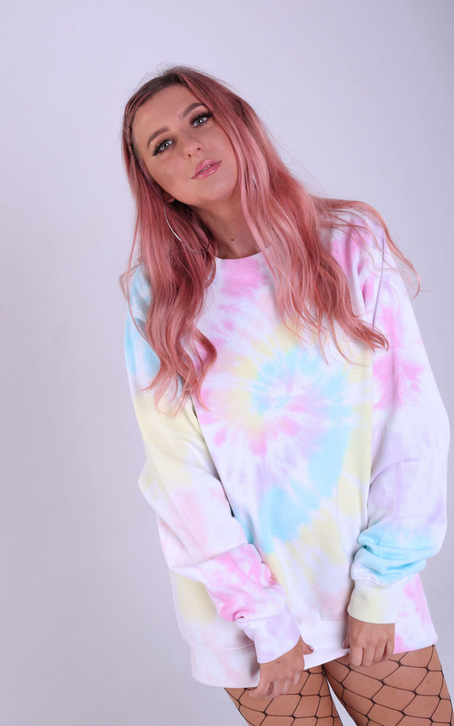 Oversized Sweatshirt in Pastel Rainbow Tie Dye by LimeBlonde