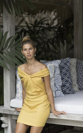 Sweetheart Linen Mini Dress in Mustard Yellow by Island Threads