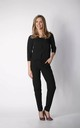 3/4 Sleeve Jumpsuit with V-Neck in Black by By Ooh La La