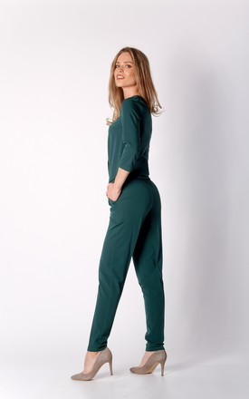 3/4 Sleeve Jumpsuit with V-Neck in Green by By Ooh La La
