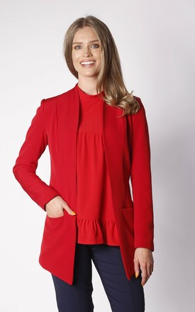 Long Asymetric Jacket in Red by By Ooh La La