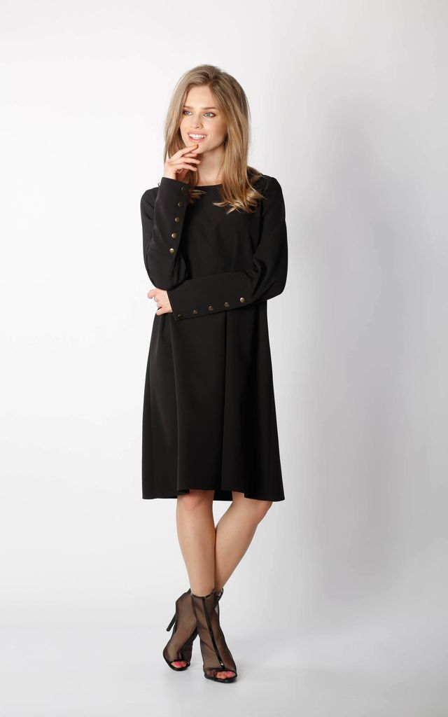 Long Sleeve Loose Fit Dress in Black by By Ooh La La