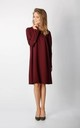 Long Sleeve Loose Fit Dress in Maroon by By Ooh La La