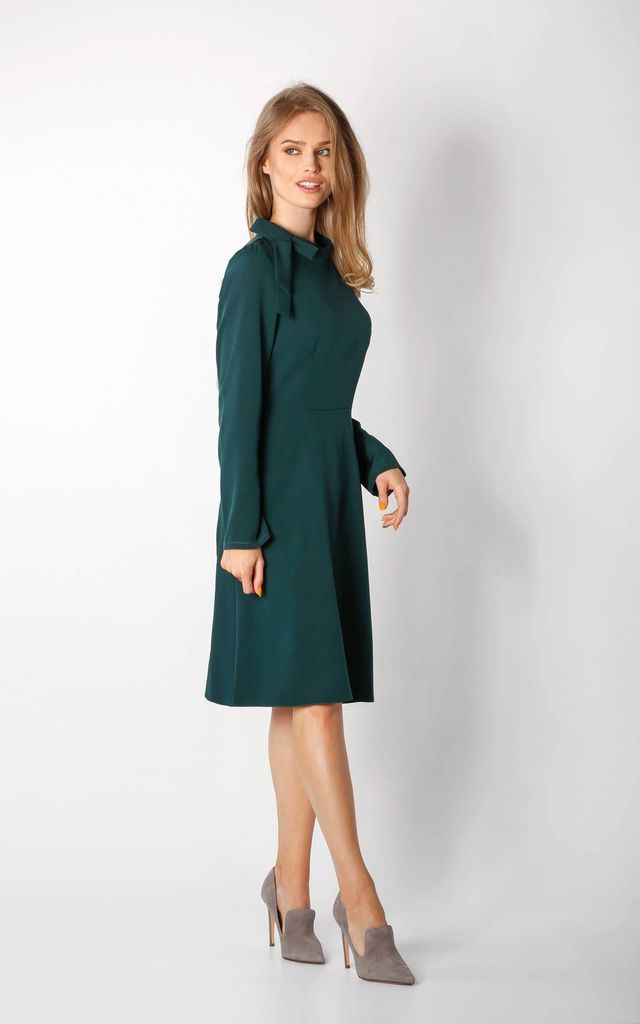 Long Sleeve A-Line Dress in Green by By Ooh La La