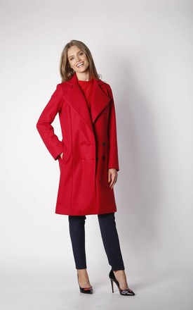 Coat with Buttons in Red by By Ooh La La
