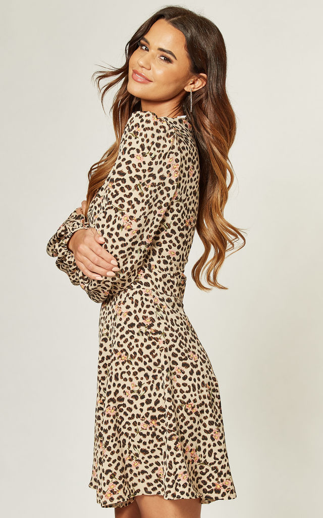 Round Neck Mini Dress in Nude Leopard Floral by LIENA