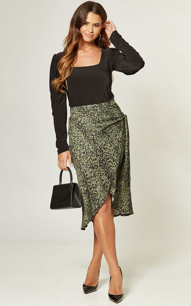 Leopard Print Wrap Midi Skirt_Green by URBAN TOUCH