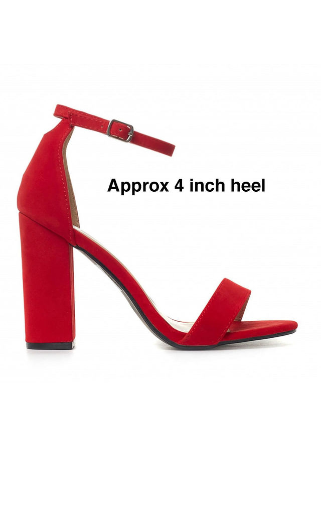 Bright Red Barely There High Heel Sandals by Shoe Closet