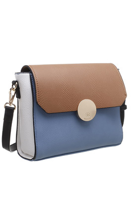 FLAP TOP CROSSBODY BAG IN BLUE/THREE TONE by BESSIE LONDON