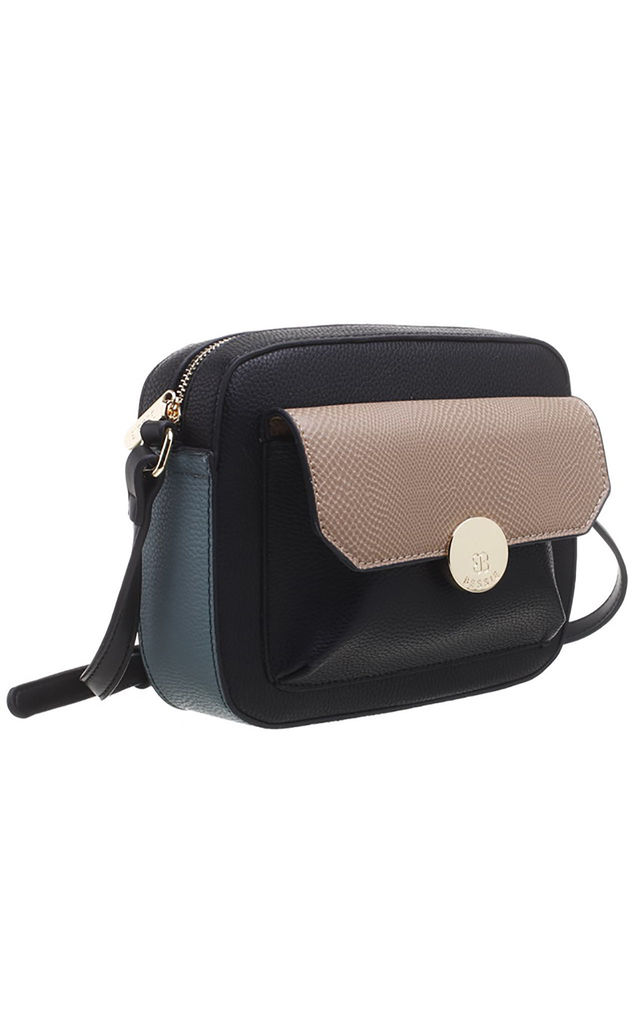 FLAP TOP FRONT POCKET CAMERA BAG in BLACK by BESSIE LONDON
