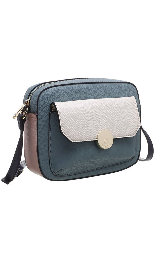 FLAP TOP FRONT POCKET CAMERA BAG in GREEN by BESSIE LONDON