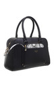 BLACK BOWLING TOTE BAG WITH DETACHABLE SNAKE PRINT COIN BAG by BESSIE LONDON