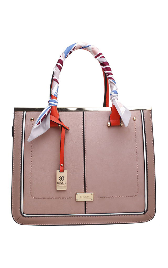 TWO TONE TOTE BAG WITH RIBBON IN PINK by BESSIE LONDON