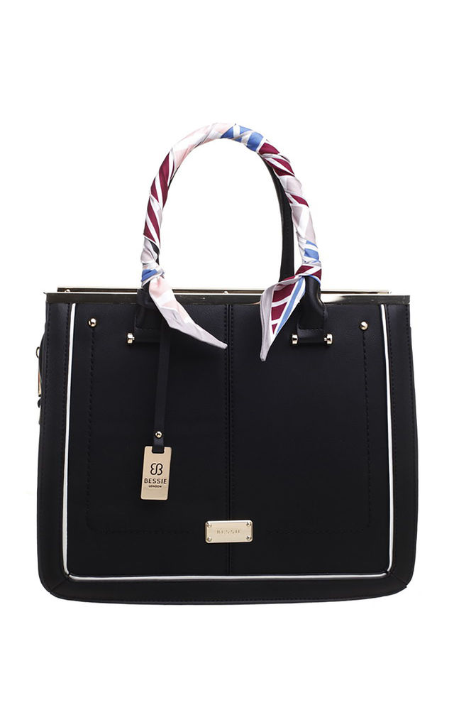 TWO TONE TOTE BAG WITH RIBBON IN BLACK by BESSIE LONDON