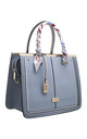 TWO TONE TOTE BAG WITH RIBBON IN BLUE by BESSIE LONDON