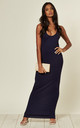Racerback Maxi Dress In Navy by Aftershock London