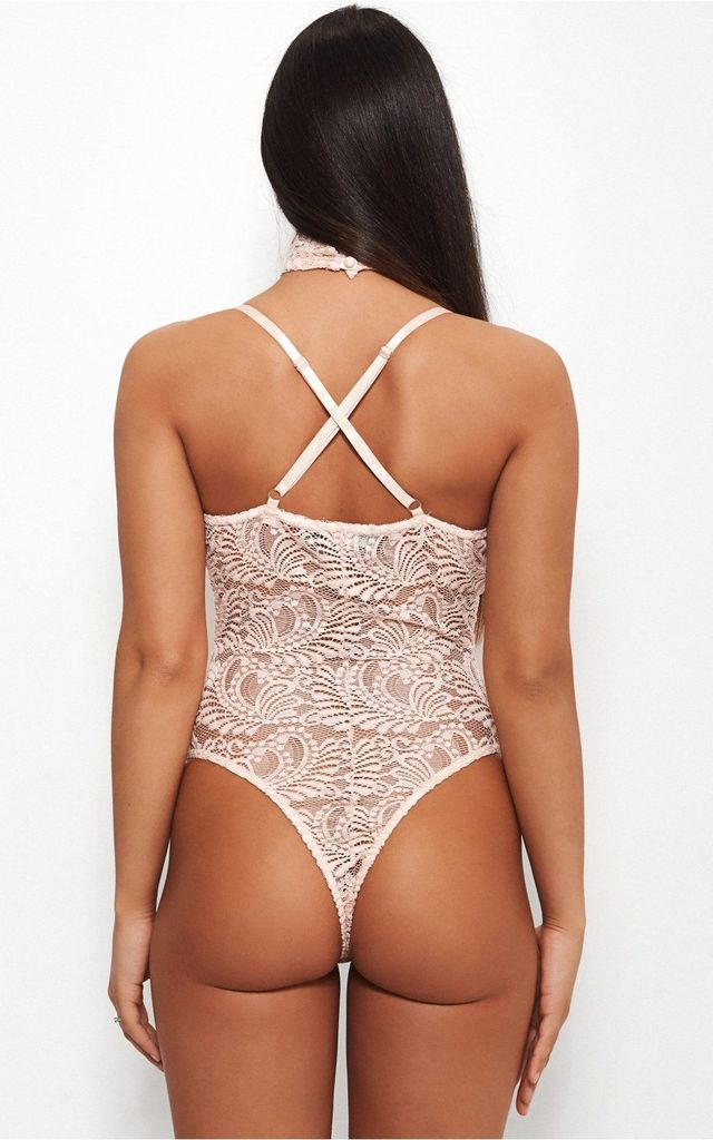 ELISHA CHOKER LACE BODYSUIT IN NUDE by The Fashion Bible