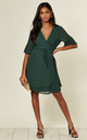 Flute Sleeve Wrap Style Dress in Green by TENKI LONDON