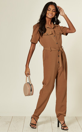 Tan short sleeve button down boilersuit. with tie belt by The ModestMe Collection
