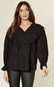 Black Embroidered Blouse with Long Sleeves by Emily & Me