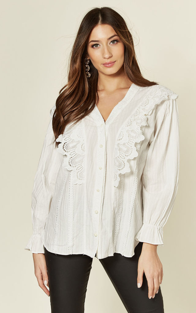 White Embroidered Blouse with Long Sleeves by Emily & Me