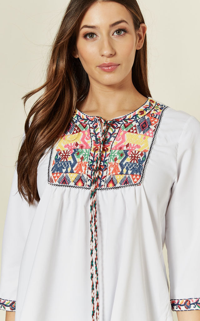 White Blouse with Multicolour Embroidered Detail by Emily & Me