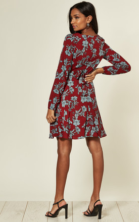 Long Sleeve Faux Wrap Dress in Red/Blue Floral Print by Emily & Me