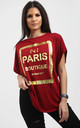 Maisie Wine Oversized Tshirt with Gold Foil Paris Slogan by Oops Fashion