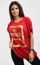 Maisie Red Oversized Tshirt with Gold Foil Paris Slogan by Oops Fashion