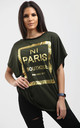 Maisie Gold Foil Paris Slogan Baggy Top In Kaki by Oops Fashion