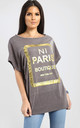 Maisie Charcoal Grey Oversized Tshirt with Gold Foil Paris Slogan by Oops Fashion