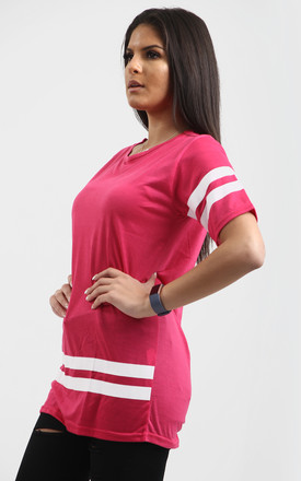 Striped Sleeve Oversized T-shirt In Cerise by Oops Fashion