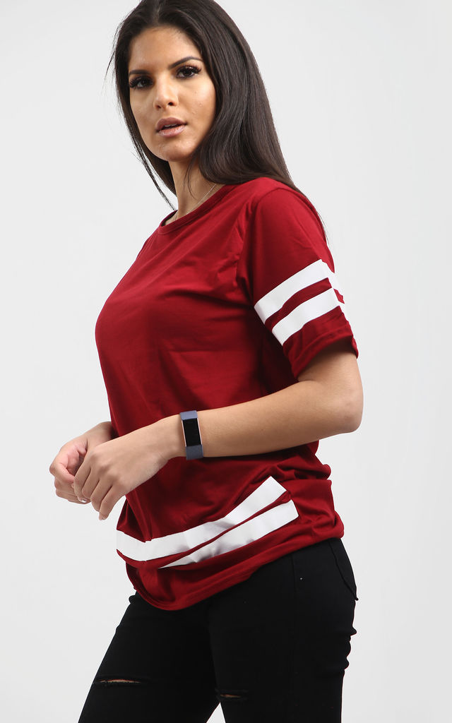 Striped Sleeve Oversized T-shirt In Wine by Oops Fashion