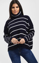 Nicole Striped Polo Neck Jumper In Navy by Oops Fashion