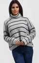 Nicole Striped Polo Neck Jumper InGrey by Oops Fashion
