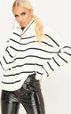 Nicole Striped Polo Neck Jumper InCream by Oops Fashion