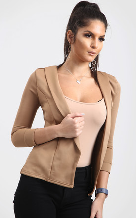 Eli Cropped Sleeve Blazer In Camel by Oops Fashion
