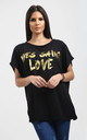 Plus Eli Black Relaxed Fit Batwing Tshirt with Gold Slogan Print by Oops Fashion