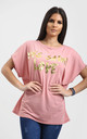 Plus Eli Rose Pink Relaxed Fit Batwing Tshirt with Gold Slogan Print by Oops Fashion